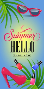 Sommer hallo shop schriftzug jetzt. ferieninschrift mit tropischen blättern, rosa schuh