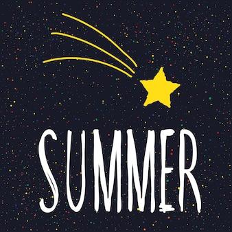 Sommer. handgeschriebener schriftzug und handgemachter doodle-stern für designkarte, einladung, t-shirt, buch, banner, poster, sammelalbum, album usw.