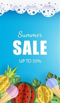 Sommer hintergrund banner 3d papier