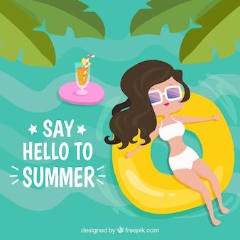 Sommer hintergrund der frau auf einem schwimmer