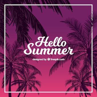 Sommer hintergrund der palmen