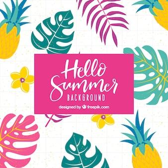 Sommer hintergrund mit ananas