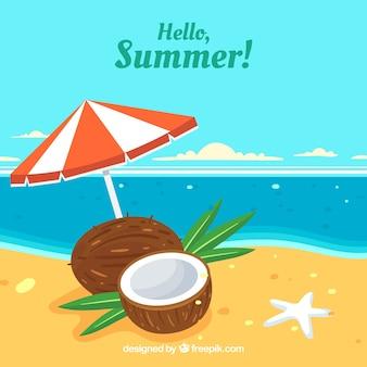 Sommer hintergrund mit blick auf den strand und kokosnuss