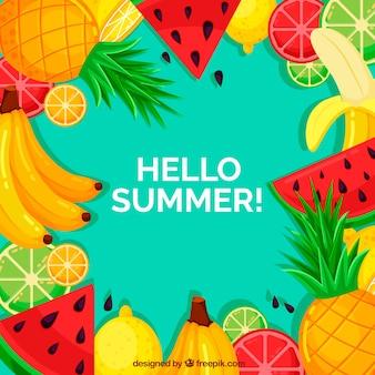 Sommer hintergrund mit bunten früchten