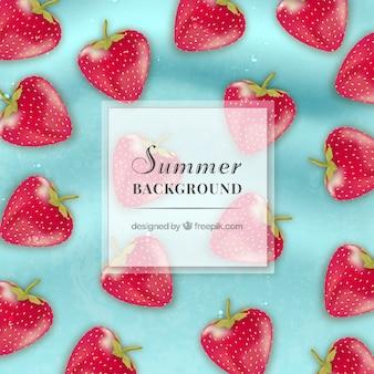 Sommer hintergrund mit erdbeeren