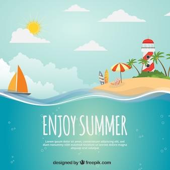 Sommer hintergrund mit insel, boot und leuchtturm