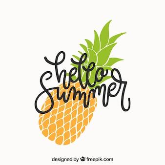 Sommer hintergrund mit schriftzug und ananas