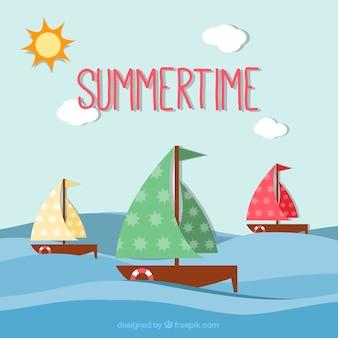 Sommer hintergrund mit segelbooten