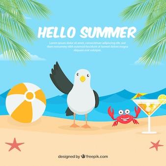 Sommer hintergrund mit strandelementen