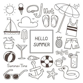 Sommer-icon-set Kostenlosen Vektoren