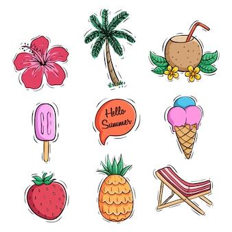 Sommer-icons-auflistung mit ananas-kokos-drink und eis mit farbigen doodle-stil