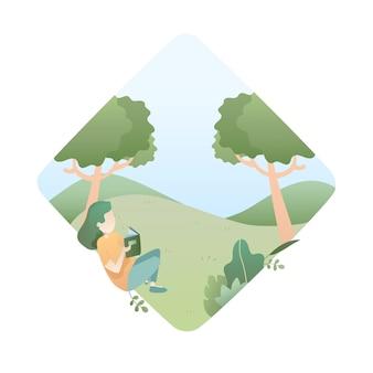 Sommer-illustration mit mädchen liest ein buch unter dem baum