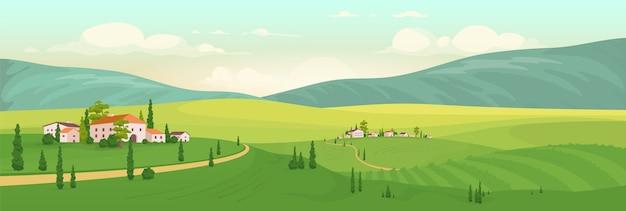 Sommer in der flachen farbillustration des italienischen dorfes. 2d-karikaturlandschaft der toskana mit bergen auf hintergrund. ländliche ansicht mit entfernten landhäusern und zypressen. weinberg landschaft
