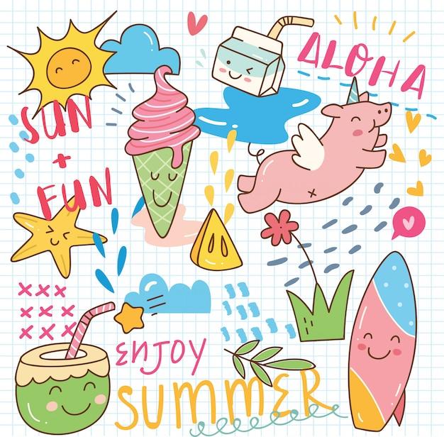 Sommer kawaii gekritzel
