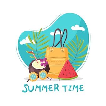 Sommer komposition strandtasche wassermelone kokosnuss gläser