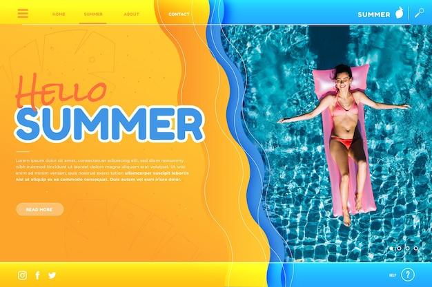 Sommer landing page vorlage mit foto