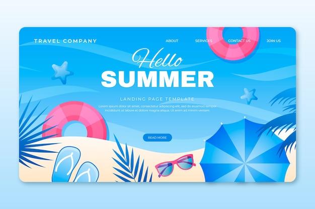 Sommer-landingpage-vorlage mit farbverlauf
