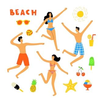 Sommer-lebensstil, leute am strand, niedliches gekritzel-set. lustige karikaturfrauen und -männer. hand gezeichnete flache illustration.