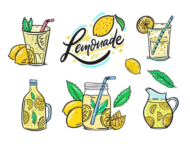 Sommer limonade set. zitrone, minze, zitronenscheibe, glas und krug. einstellen. cartoon-stil.