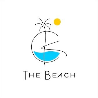 Sommer-logo-design-tropischer strand-vektor