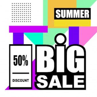 Sommer mega-verkauf abstrakte memphis stil web-banner