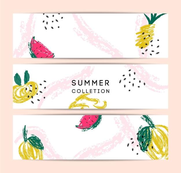 Sommer memphis abstrakter vektorkartensatz. hallo sommerillustrationen für karte, flyer, banner, poster, designvorlage für soziale medien. bunte früchte, ananas, wassermelone, blätter