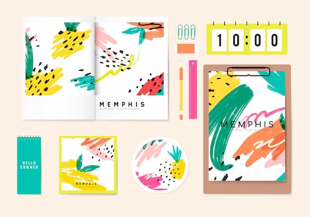 Sommer memphis design briefpapier vektor