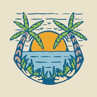Sommer mit grafischem illustrationskunst-t-shirt-design der sonnenuntergangansicht