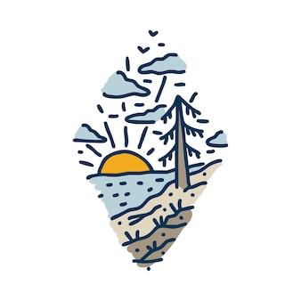 Sommer mit sonnenuntergang auf ruhigem meer handgezeichnetes grafisches illustrationskunst-t-shirt-design