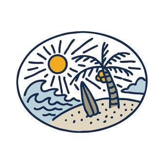 Sommer mit tollem wellen- und surfbrett-liniengrafik-t-shirt-design