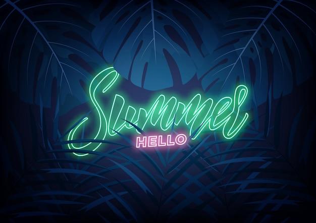Sommer. modernes design-layout mit neon-schriftzug und tropischen dschungelblättern. sommer exotischer hintergrund