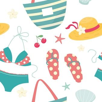 Sommer nahtlose muster mit bikini flip flops hut muscheln kirschen