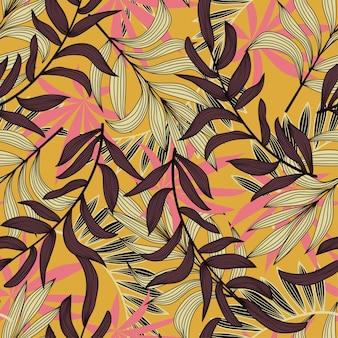 Sommer nahtlose muster mit tropischen blättern und pflanzen