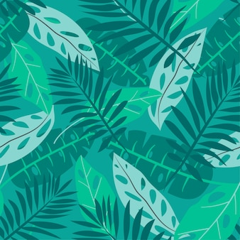 Sommer nahtlose muster mit tropischen blättern
