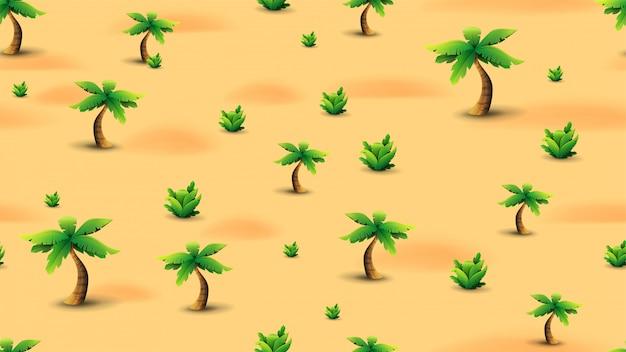 Sommer nahtlose textur mit palmen und tropischen pflanzen in der wüste.