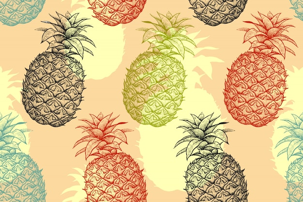 Sommer nahtloses muster mit ananas.