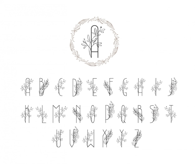 Sommer- oder frühlingsblumenschriftlogo. floral vintage großbuchstaben alphabet logo. hochzeitseinladungsschablone