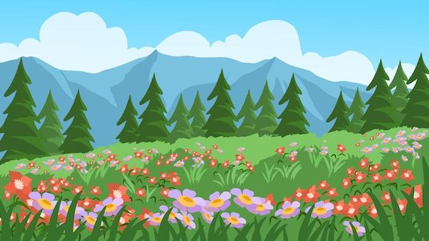 Sommer- oder frühlingslandschaft mit bunten blumen und kiefern