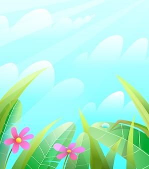 Sommer- oder frühlingsnaturhintergrund mit blättergras und blumen über dem blauen himmel. grüner frühlingsgarten oder sommerlandschaftsvektorillustration.