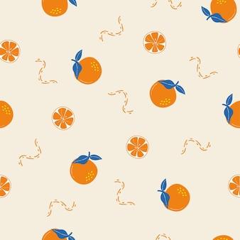 Sommer orange tropisches nahtloses muster und hintergrund