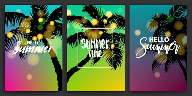 Sommer-palme-set-poster mit bokeh