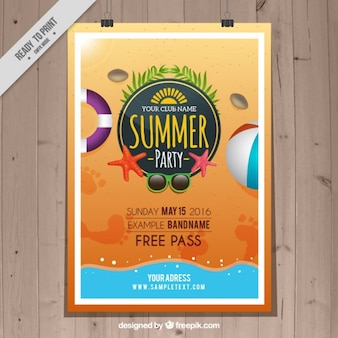 Sommer-party am strand plakat