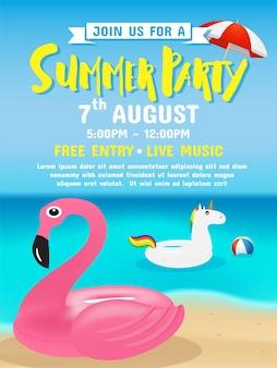 Sommer party einladung flyer hintergrund vorlage