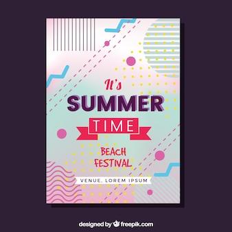 Sommer-party einladung im memphis-stil