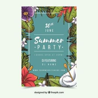 Sommer-party einladung im vintage-stil mit blättern