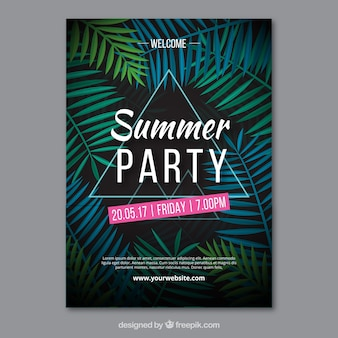 Sommer-party einladung mit palmblättern