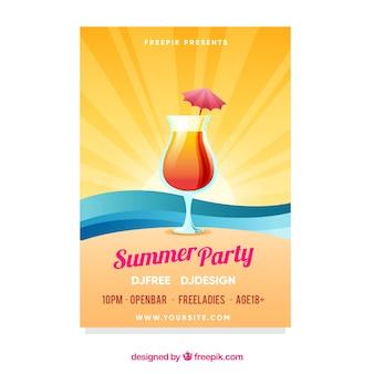 Sommer party flyer im flachen stil