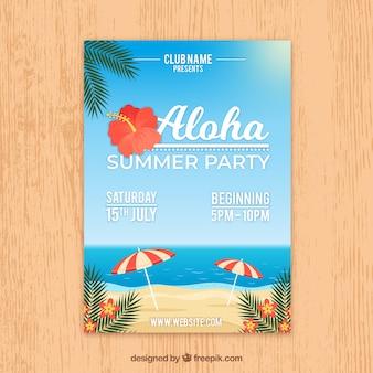 Sommer party flyer mit blick auf den strand