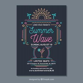 Sommer party flyer mit monolinen