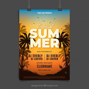 Sommer party flyer mit palmen